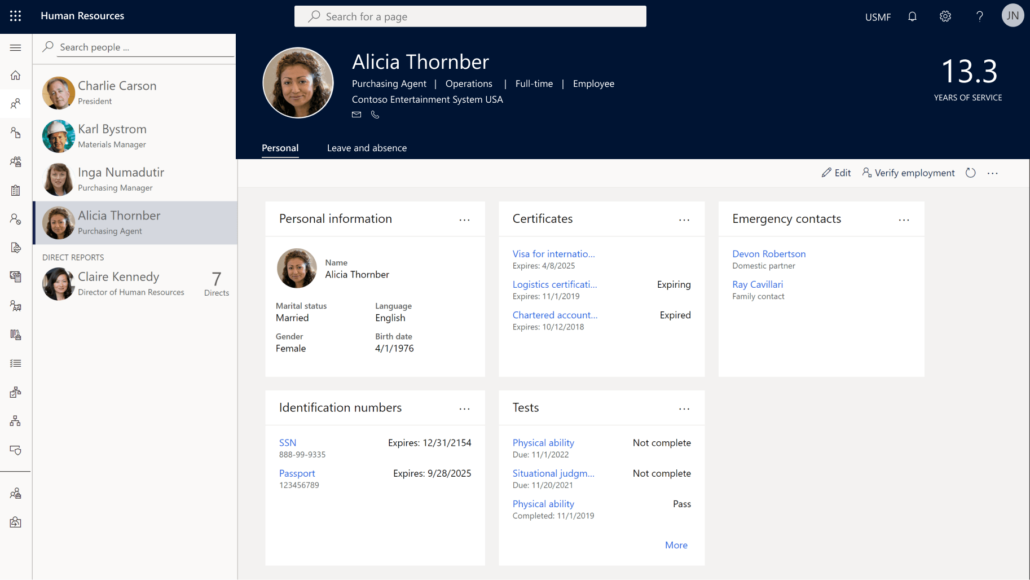 tablero human resources de dynamics 365